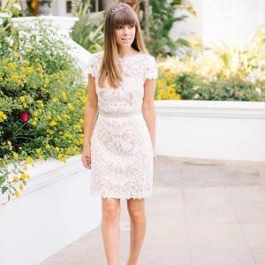 short wedding dress for petite bride 300x300 - بهترین لباس عروس برای افراد قد کوتاه کدام ها هستند؟