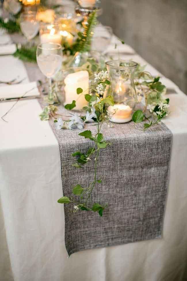 charcoal table runner ideas for spring wedding - ۲۳ ایدهی جالب برای گل آرایی مراسم عروسی