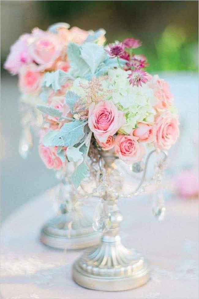 pretty pastel wedding centerpiece ideas for spring - ۲۳ ایدهی جالب برای گل آرایی مراسم عروسی