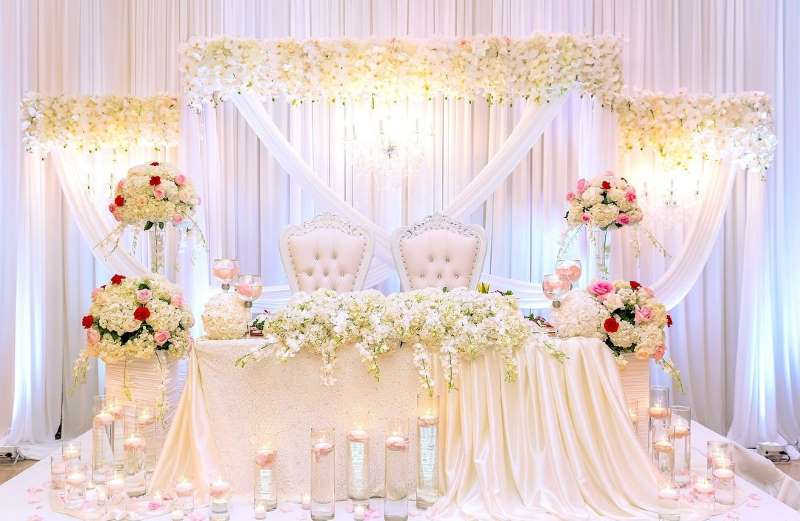 3 - اجاره سفره عقد عروس با تزیین و گل آرایی جایگاه عروس