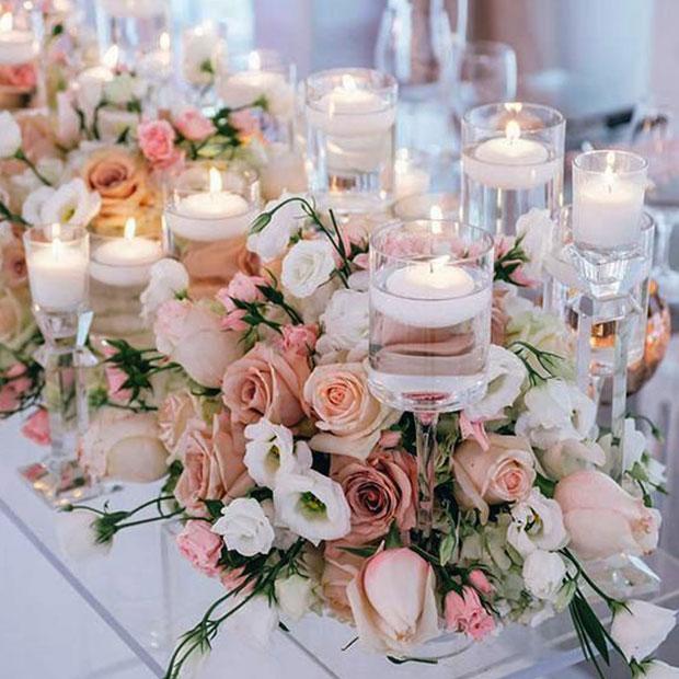 شمع - نکات مهم برای غذای شام عروسی و تزیین میز شام عروسی
