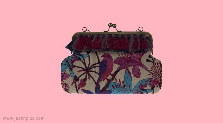Kondis printed clutch bag - انتخاب درست کیف مجلسی زنانه برای میهمانی