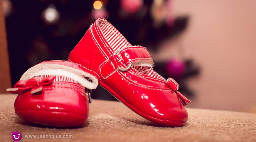 girl flat red shoes - پیشنهاد خرید کفش دخترانه برای میهمانی باشکوه