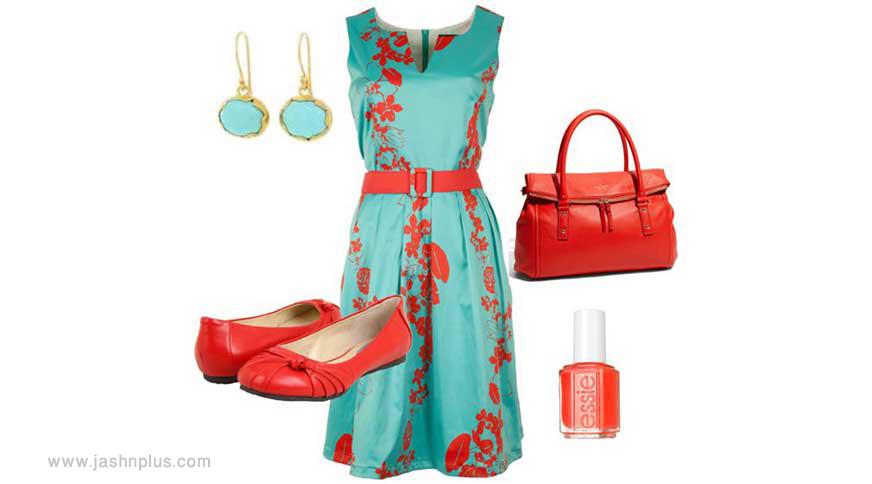 green red set - ایدههای لباس رنگی رنگی برای میهمانی