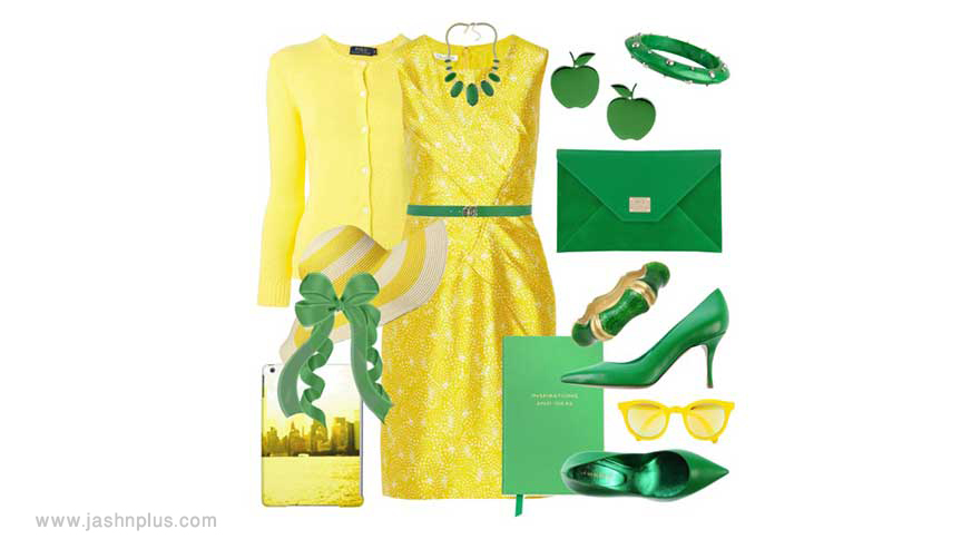 green yellow set - ایدههای لباس رنگی رنگی برای میهمانی