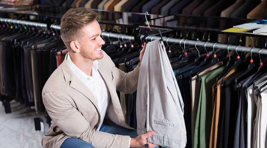 man shopping trousers - خوشتیپ و متفاوت شدن با هشت نکته