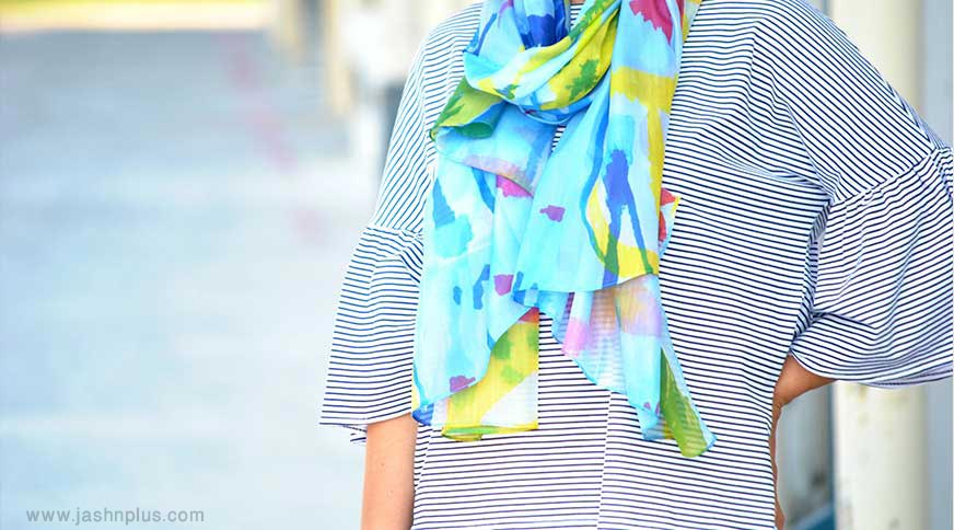 stylish women scarf - کیف و کفش و اکسسوری برای خانم های قد کوتاهها در میهمانی