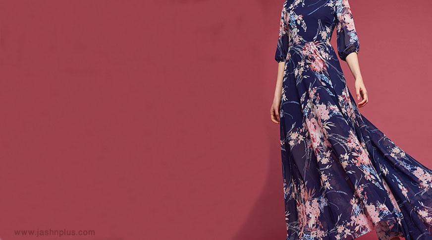 women floral maxi dress - قد بلندها برای میهمانی کدام مدل لباس را بپوشند،کدام را نپوشند؟