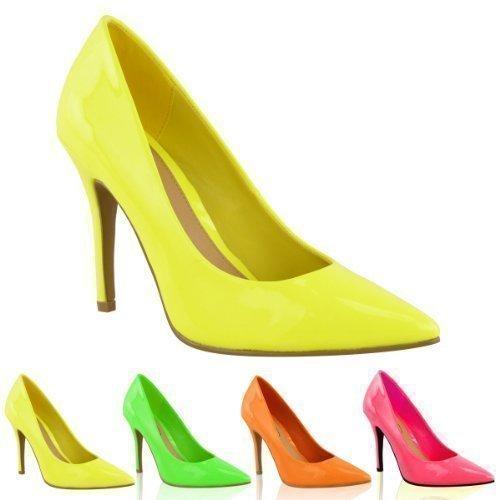 LADIES WOMENS BRIGHT FLUORESCENT NEON POINTED TOE COURT SHOES HIGH HEELS SIZE UK 4 Neon Yellow 0 - انتخاب لباس مناسب برای افراد چاق و لاغر!!