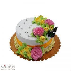 کیک ساده پروانه و گل
