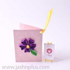 تبریک منبت کاغذی طرح گل بنفش111 300x300 - ۱۲ گام ضروری در برگزاری یک جشن تولد شاد برای بچه ها