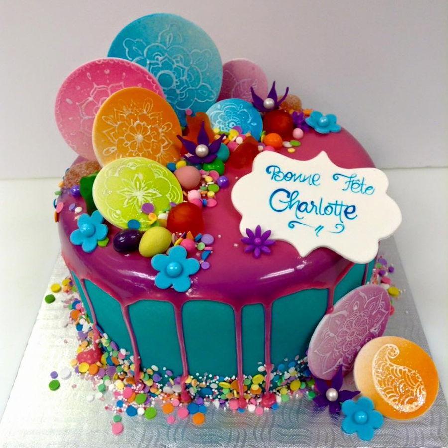 900 fondant drip cake with hand painted mandalas 752250x62D0 - کیک تولد با تم کودکانه