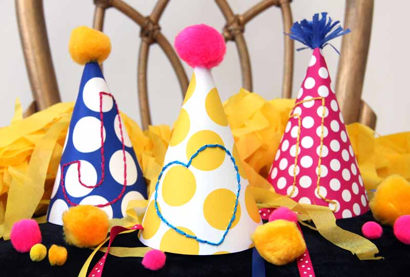 DIY Embroidered Party Hats - کلاهای جذاب جشن تولد