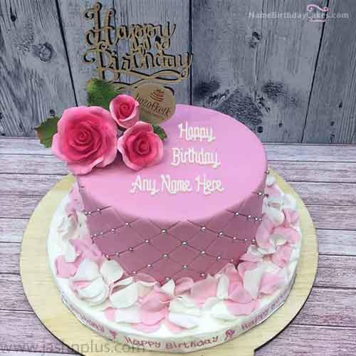rose petals birthday cake with name cc48 - مدل های زیبای کیک تولد دخترانه برای دختر خانم های ایرانی