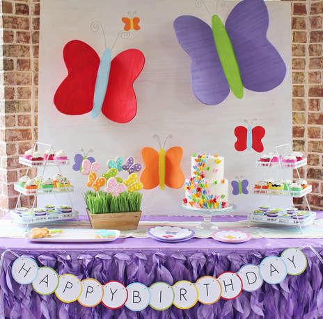 flutter by for a colorful butterfly birthday party - ایده تم تولد پروانه برای دختر خانم ها