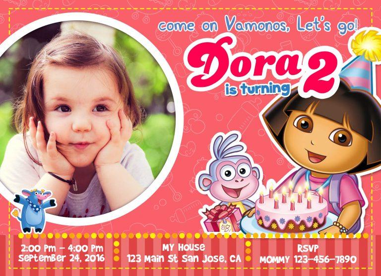 Dora invitation 768x556 - تم تولد دورا ، تمی مناسب برای دختر خانوم های کنج کاو