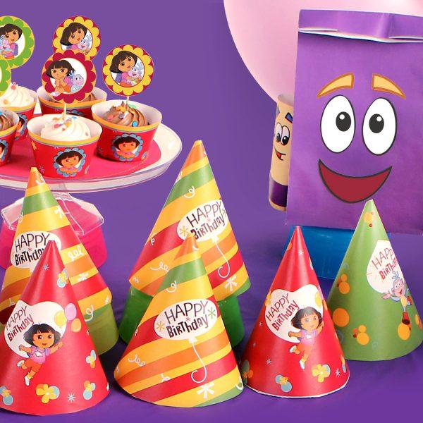 doraTheExplorer partyPlanner1x1 600x600 - تم تولد دورا ، تمی مناسب برای دختر خانوم های کنج کاو