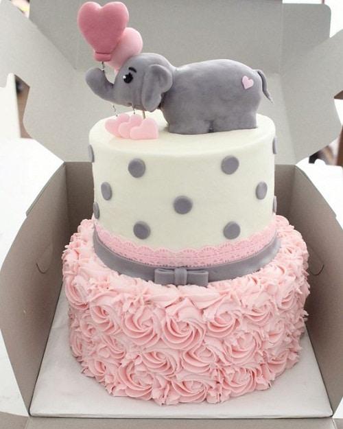 pink and grey elephant birthday cakes for girls - ایده هایی برای تهیه ی زیباترین کیک تولد دخترانه