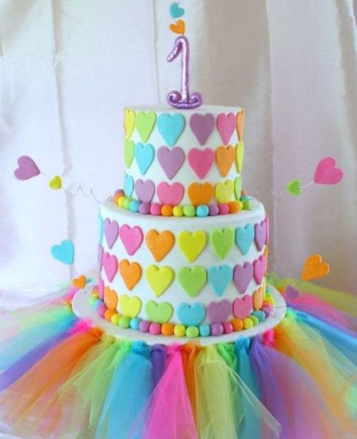 rainbow heart with tutu birthday cakes for girls - ایده هایی برای تهیه ی زیباترین کیک تولد دخترانه